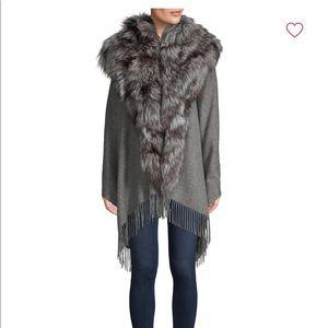 NWT Annabelle by scbmi wool silver fox cape